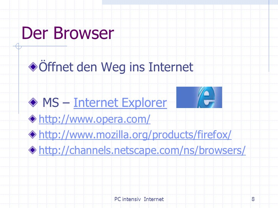 PC intensiv Internet8 Der Browser Öffnet den Weg ins Internet MS – Internet ExplorerInternet Explorer http://www.opera.com/ http://www.mozilla.org/pro
