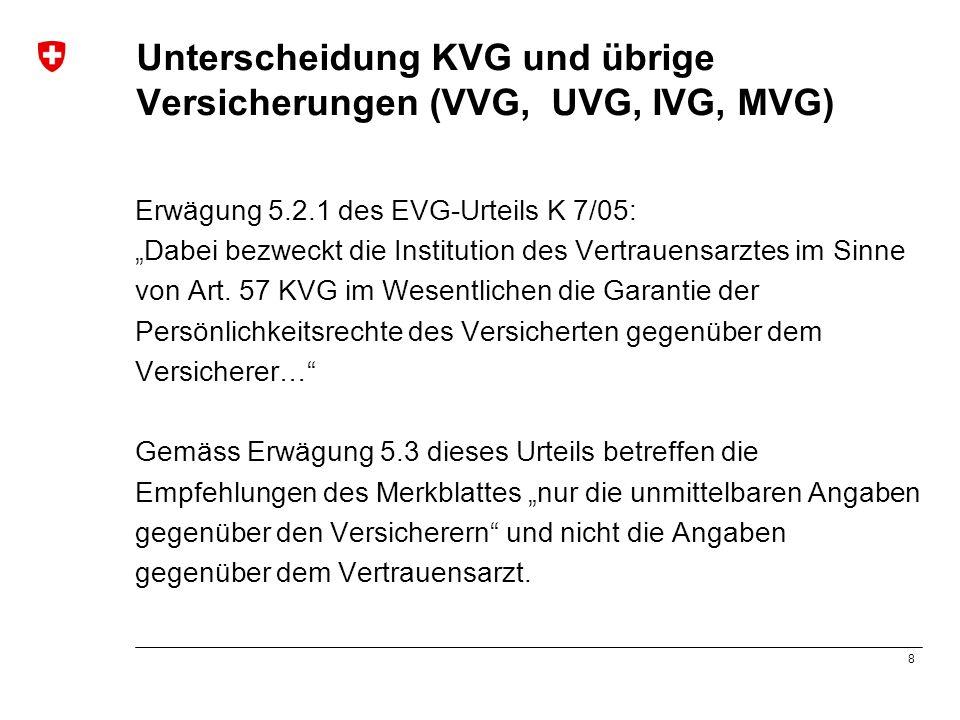 8 Unterscheidung KVG und übrige Versicherungen (VVG, UVG, IVG, MVG) Erwägung 5.2.1 des EVG-Urteils K 7/05: Dabei bezweckt die Institution des Vertraue