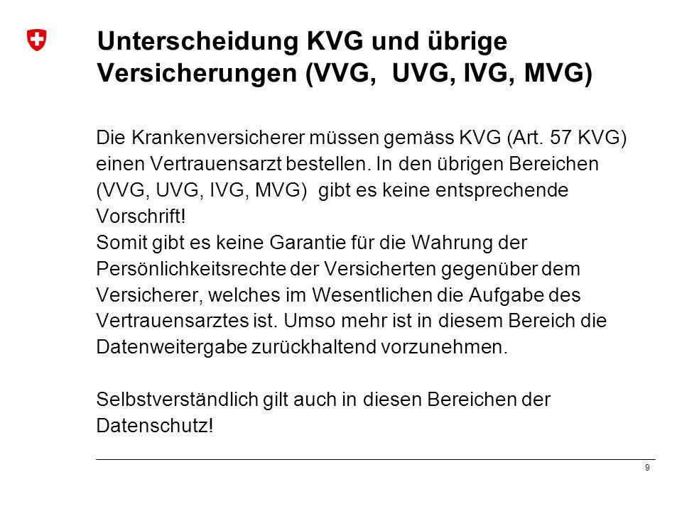 9 Unterscheidung KVG und übrige Versicherungen (VVG, UVG, IVG, MVG) Die Krankenversicherer müssen gemäss KVG (Art. 57 KVG) einen Vertrauensarzt bestel