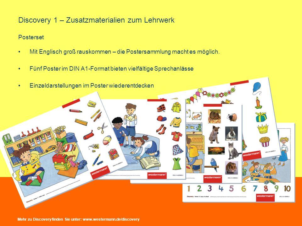 Discovery 1 – Zusatzmaterialien zum Lehrwerk Posterset Mit Englisch groß rauskommen – die Postersammlung macht es möglich. Fünf Poster im DIN A1-Forma