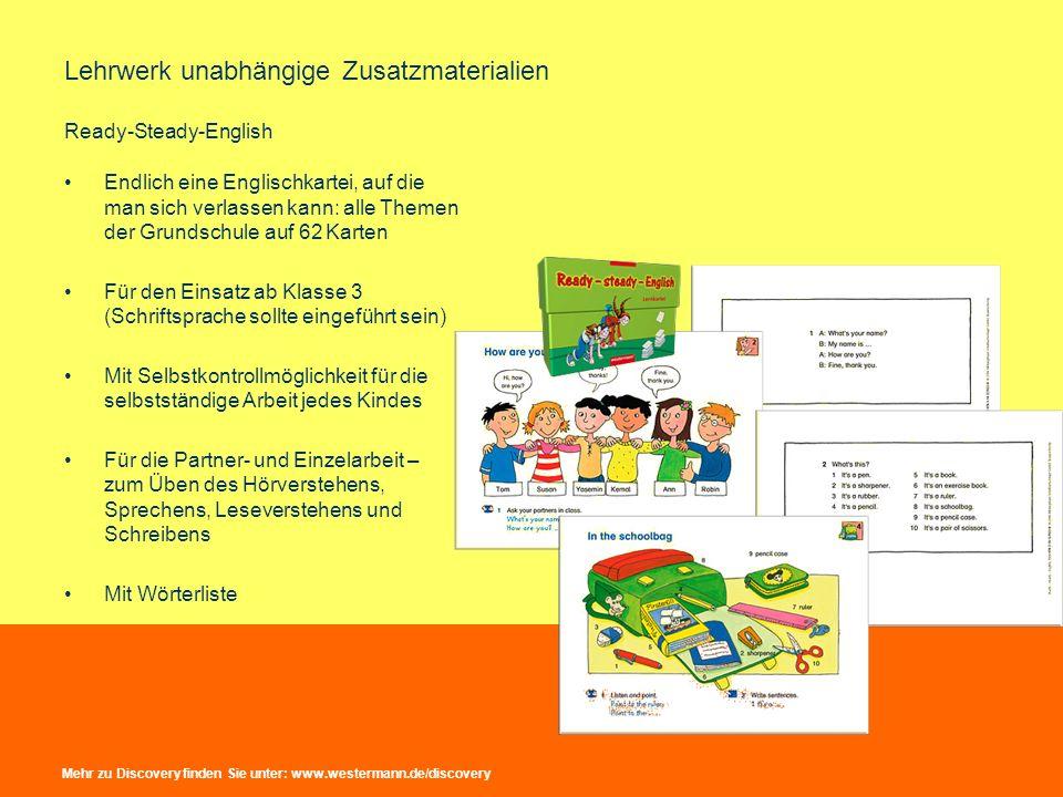 Lehrwerk unabhängige Zusatzmaterialien Ready-Steady-English Endlich eine Englischkartei, auf die man sich verlassen kann: alle Themen der Grundschule