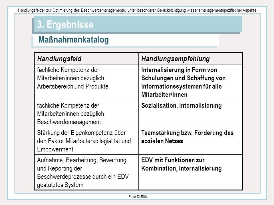 Handlungsfelder zur Optimierung des Beschwerdemanagements, unter besonderer Berücksichtigung wissensmanagementspezifischer Aspekte Peter DLESK 3. Erge