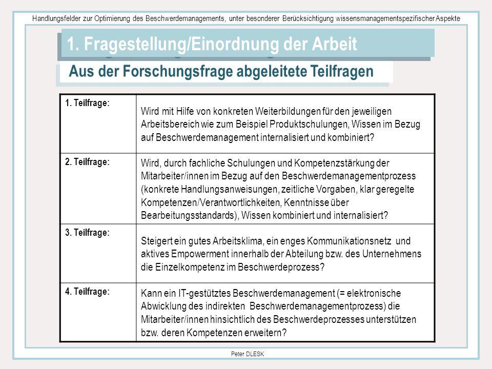 Handlungsfelder zur Optimierung des Beschwerdemanagements, unter besonderer Berücksichtigung wissensmanagementspezifischer Aspekte Peter DLESK 1. Frag