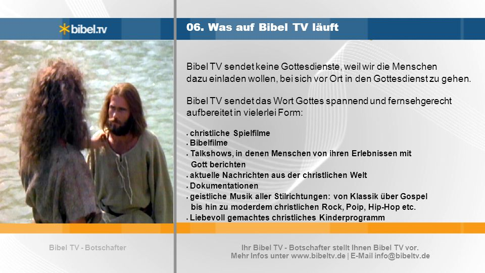 Bibel TV - Botschafter 07.Gratis Bibel TV Programmheft für Sie.