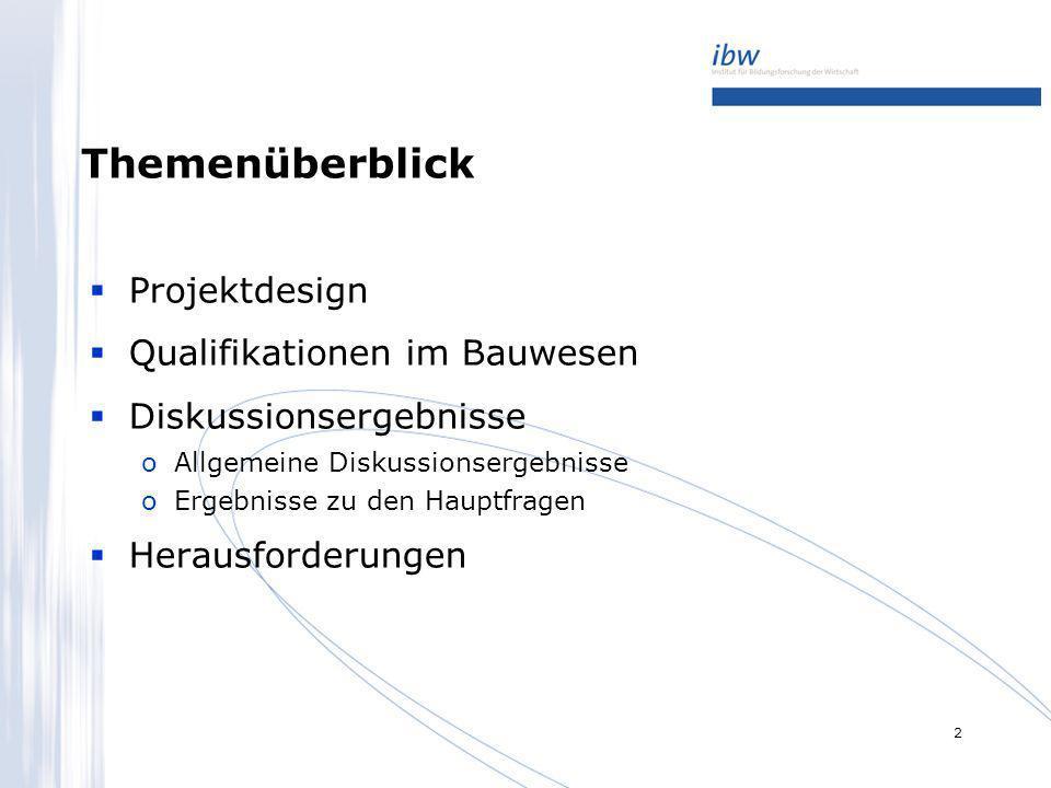 3 Projektdesign Zwei Zugänge zu Daten/Informationen oSekundärstatistische Analyse von Statistiken/Studien oWorkshops mit ExpertInnen aus dem facheinschlägigen Bildungs- und Wirtschaftsbereich Statistiken/Studien oBeschäftige im Bauwesen oAbsolventInnen von facheinschlägigen Bildungsprogrammen oErwerbstätigen- und Qualifikationsstruktur Workshops oDrei Workshops mit heterogenem TeilnehmerInnenkreis oPilotierung einer Herangehensweise zur Zuordnung von Qualifikationen oArgumente für die Zuordnung oNotwendigkeit, die Deskriptoren-Tabelle zu ergänzen bzw.