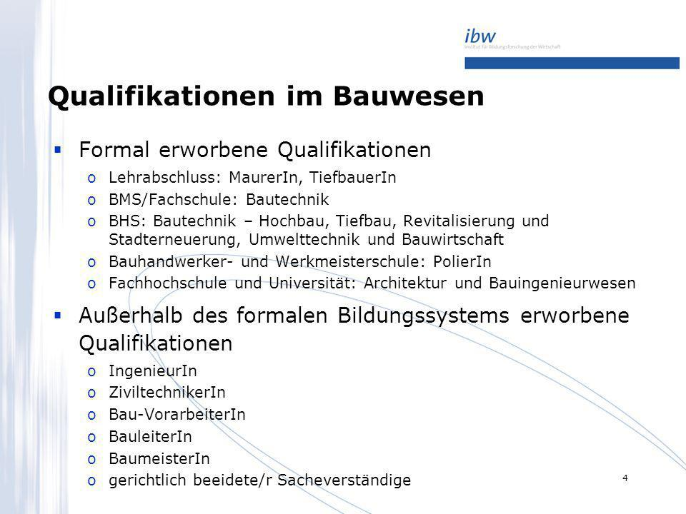 4 Qualifikationen im Bauwesen Formal erworbene Qualifikationen oLehrabschluss: MaurerIn, TiefbauerIn oBMS/Fachschule: Bautechnik oBHS: Bautechnik – Ho