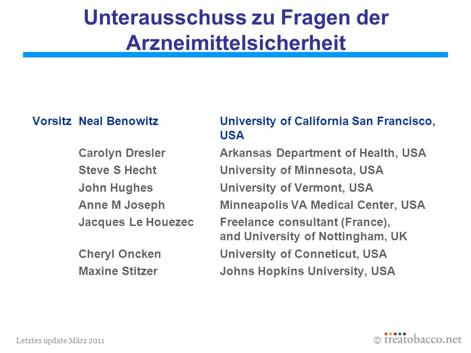 Letztes update März 2011 Unterausschuss zu Fragen der Arzneimittelsicherheit VorsitzNeal BenowitzUniversity of California San Francisco, USA Carolyn DreslerArkansas Department of Health, USA Steve S HechtUniversity of Minnesota, USA John HughesUniversity of Vermont, USA Anne M JosephMinneapolis VA Medical Center, USA Jacques Le HouezecFreelance consultant (France), and University of Nottingham, UK Cheryl OnckenUniversity of Conneticut, USA Maxine StitzerJohns Hopkins University, USA