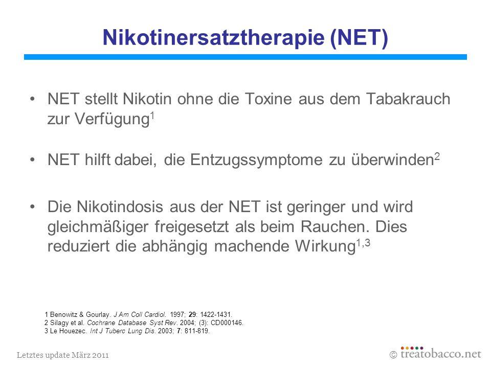 Letztes update März 2011 Nikotinersatztherapie (NET) NET stellt Nikotin ohne die Toxine aus dem Tabakrauch zur Verfügung 1 NET hilft dabei, die Entzugssymptome zu überwinden 2 Die Nikotindosis aus der NET ist geringer und wird gleichmäßiger freigesetzt als beim Rauchen.
