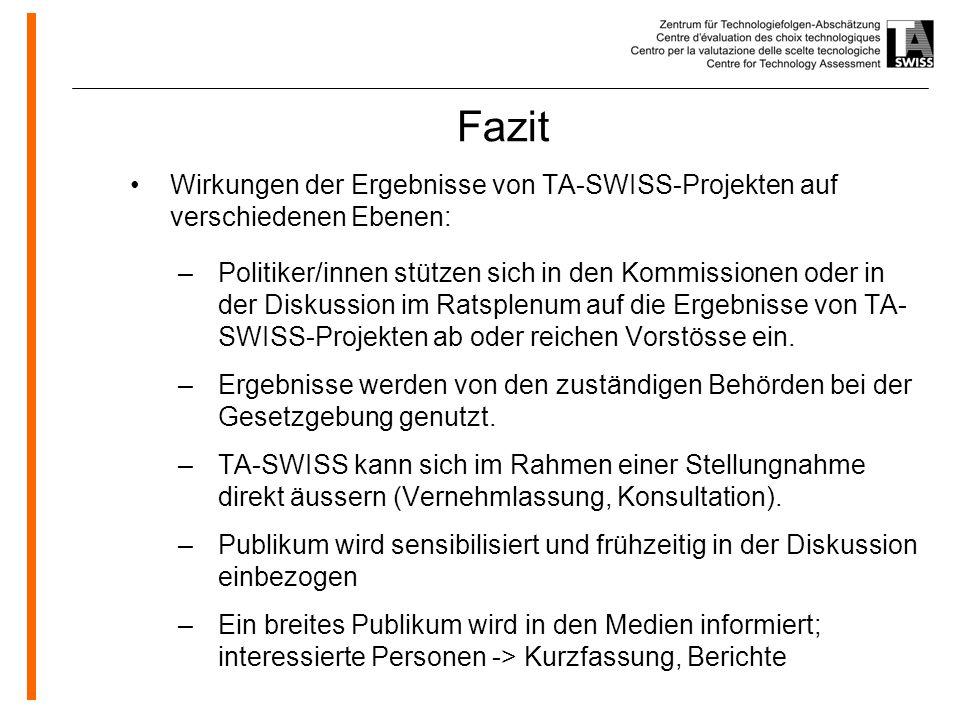 www.oeko.de Fazit Wirkungen der Ergebnisse von TA-SWISS-Projekten auf verschiedenen Ebenen: –Politiker/innen stützen sich in den Kommissionen oder in der Diskussion im Ratsplenum auf die Ergebnisse von TA- SWISS-Projekten ab oder reichen Vorstösse ein.