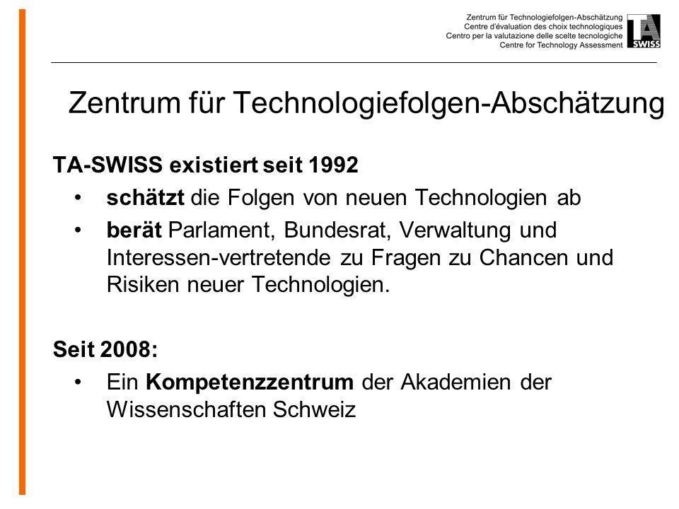 www.oeko.de Zentrum für Technologiefolgen-Abschätzung TA-SWISS existiert seit 1992 schätzt die Folgen von neuen Technologien ab berät Parlament, Bundesrat, Verwaltung und Interessen-vertretende zu Fragen zu Chancen und Risiken neuer Technologien.