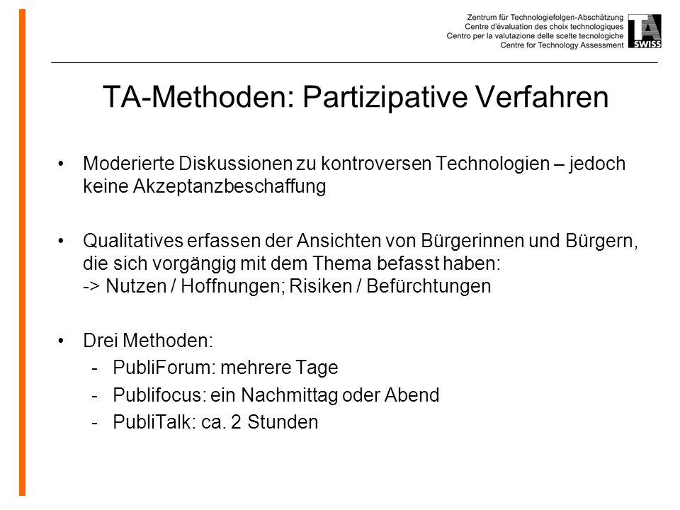 www.oeko.de TA-Methoden: Partizipative Verfahren Moderierte Diskussionen zu kontroversen Technologien – jedoch keine Akzeptanzbeschaffung Qualitatives erfassen der Ansichten von Bürgerinnen und Bürgern, die sich vorgängig mit dem Thema befasst haben: -> Nutzen / Hoffnungen; Risiken / Befürchtungen Drei Methoden: -PubliForum: mehrere Tage -Publifocus: ein Nachmittag oder Abend -PubliTalk: ca.
