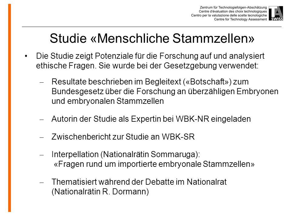 www.oeko.de Studie «Menschliche Stammzellen» Die Studie zeigt Potenziale für die Forschung auf und analysiert ethische Fragen.