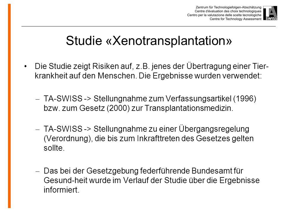 www.oeko.de Studie «Xenotransplantation» Die Studie zeigt Risiken auf, z.B.