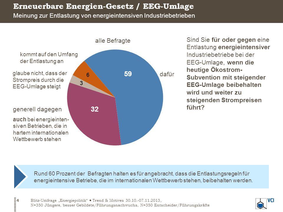 Rund 60 Prozent der Befragten halten es für angebracht, dass die Entlastungsregeln für energieintensive Betriebe, die im internationalen Wettbewerb stehen, beibehalten werden.