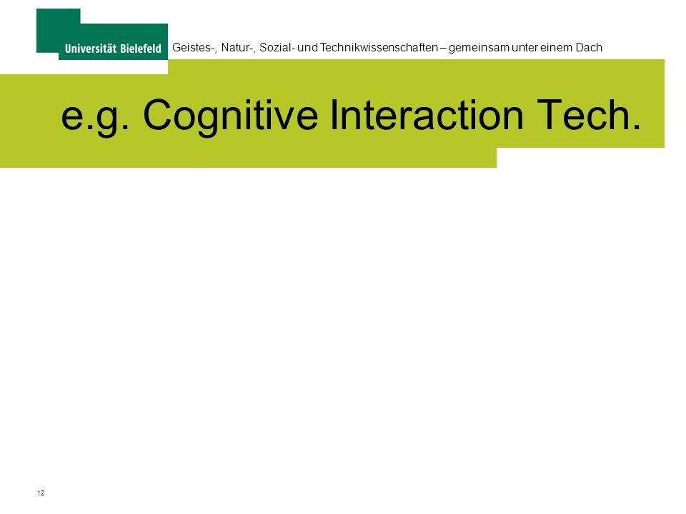 12 Geistes-, Natur-, Sozial- und Technikwissenschaften – gemeinsam unter einem Dach e.g. Cognitive Interaction Tech.
