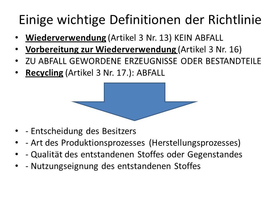 Einige wichtige Definitionen der Richtlinie Wiederverwendung (Artikel 3 Nr. 13) KEIN ABFALL Vorbereitung zur Wiederverwendung (Artikel 3 Nr. 16) ZU AB