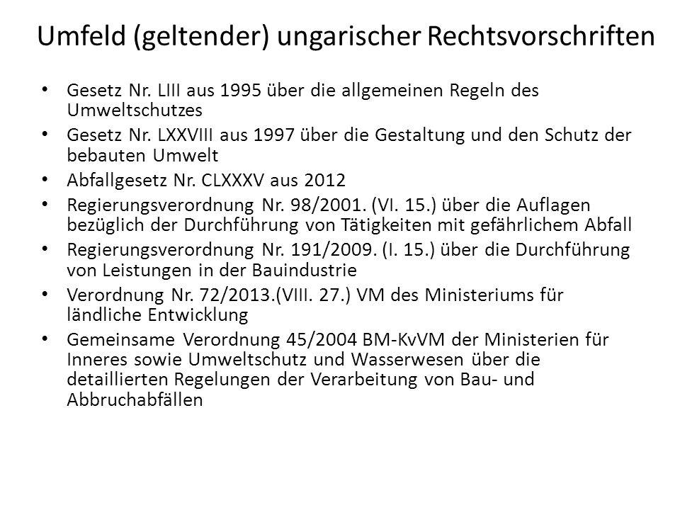 Umfeld (geltender) ungarischer Rechtsvorschriften Gesetz Nr. LIII aus 1995 über die allgemeinen Regeln des Umweltschutzes Gesetz Nr. LXXVIII aus 1997