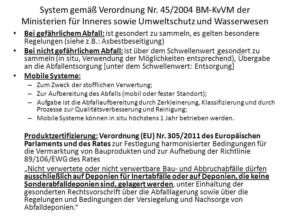 System gemäß Verordnung Nr. 45/2004 BM-KvVM der Ministerien für Inneres sowie Umweltschutz und Wasserwesen Bei gefährlichem Abfall: ist gesondert zu s