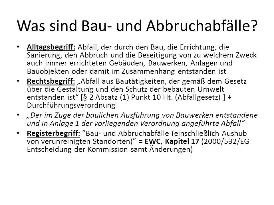 Bau- und Abbruchabfälle aufgrund der gem.Verordnung 45/2004.
