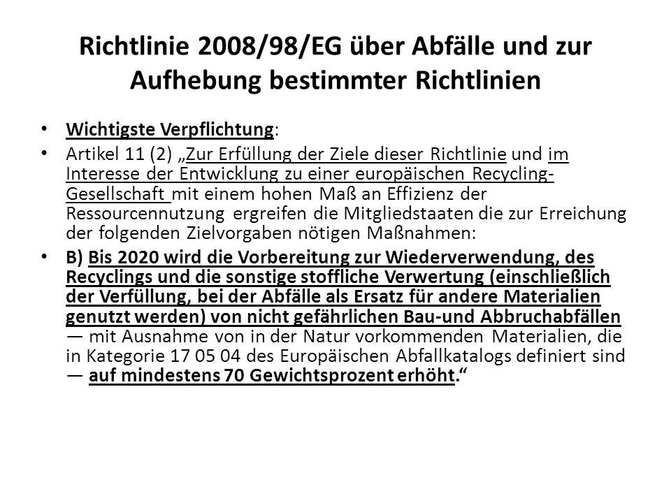Richtlinie 2008/98/EG über Abfälle und zur Aufhebung bestimmter Richtlinien Wichtigste Verpflichtung: Artikel 11 (2) Zur Erfüllung der Ziele dieser Ri