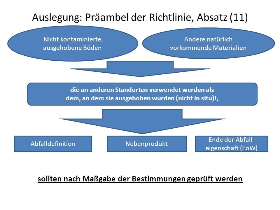 Auslegung: Präambel der Richtlinie, Absatz (11) sollten nach Maßgabe der Bestimmungen geprüft werden Nicht kontaminierte, ausgehobene Böden Andere n