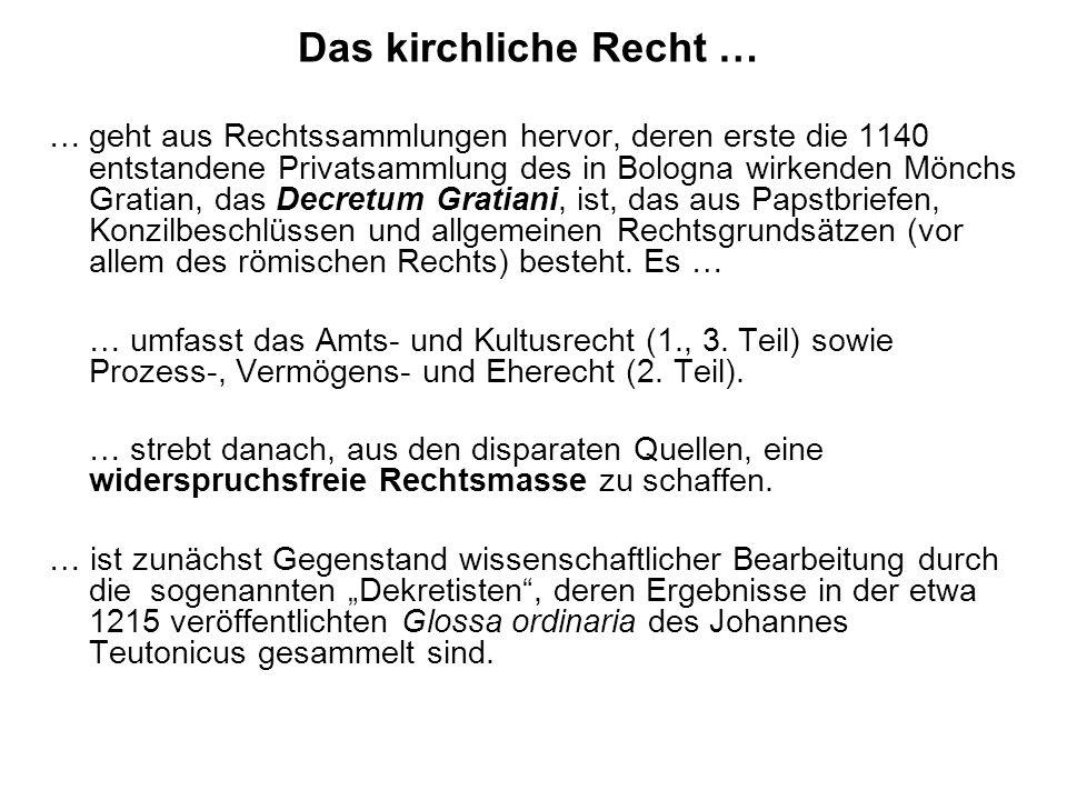 Das kirchliche Recht … … wird durch weitere Dekretalen (Papstbriefe, i.