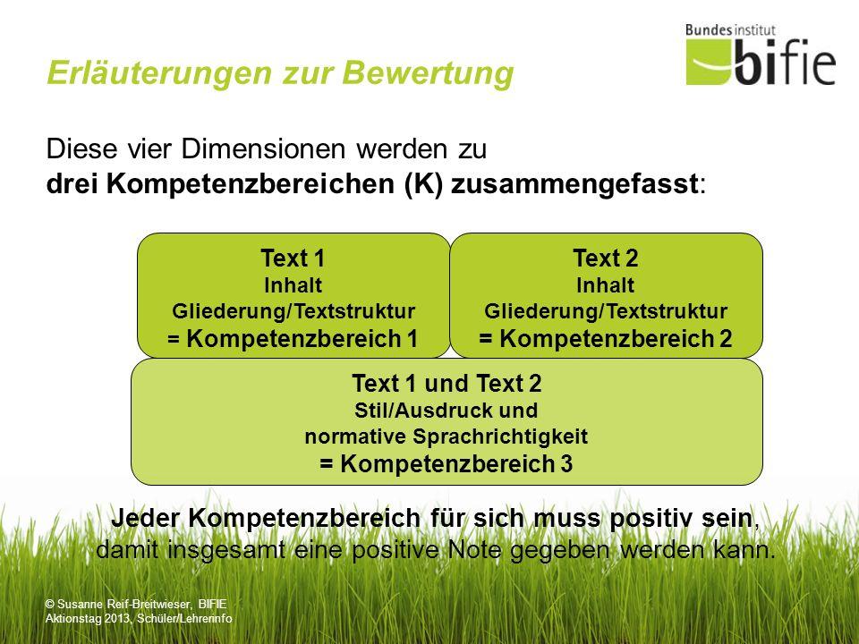 © Susanne Reif-Breitwieser, BIFIE Aktionstag 2013, Schüler/Lehrerinfo Erläuterungen zur Bewertung Diese vier Dimensionen werden zu drei Kompetenzberei