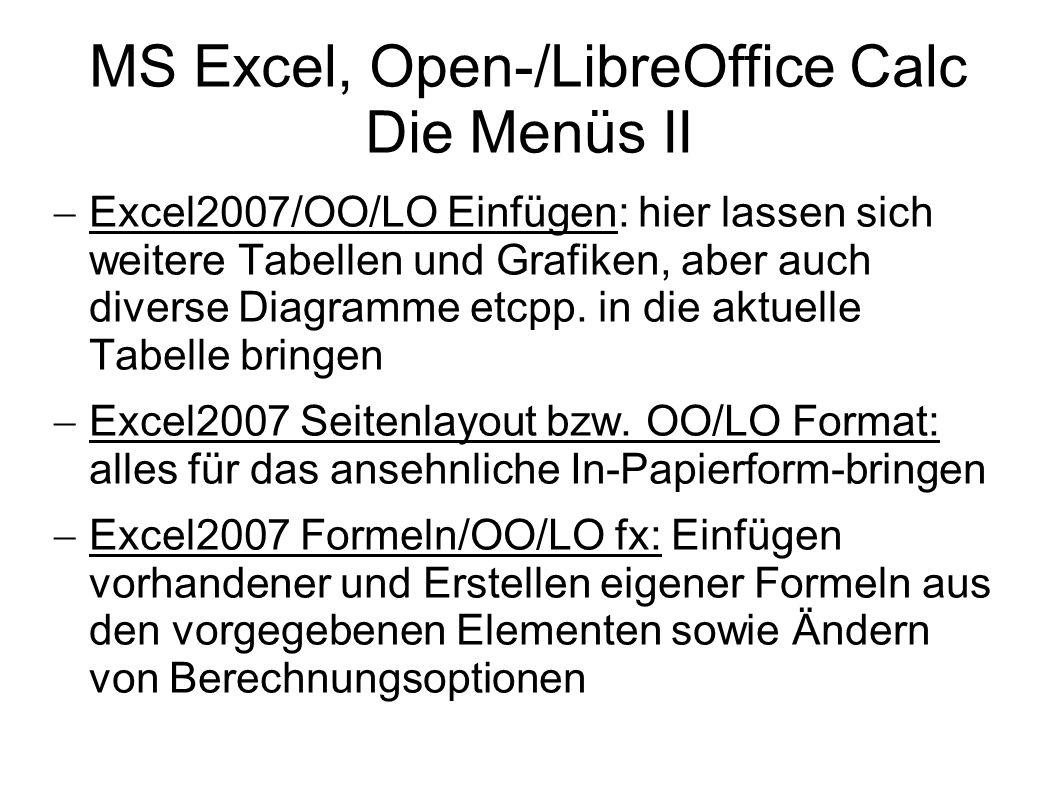 MS Excel, Open-/LibreOffice Calc Die Menüs II Excel2007/OO/LO Einfügen: hier lassen sich weitere Tabellen und Grafiken, aber auch diverse Diagramme et