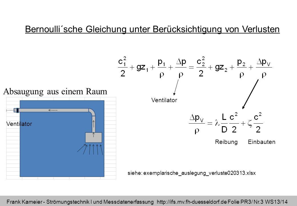 Frank Kameier - Strömungstechnik I und Messdatenerfassung http://ifs.mv.fh-duesseldorf.de Folie PR3/ Nr.3 WS13/14 Bernoulli´sche Gleichung unter Berüc