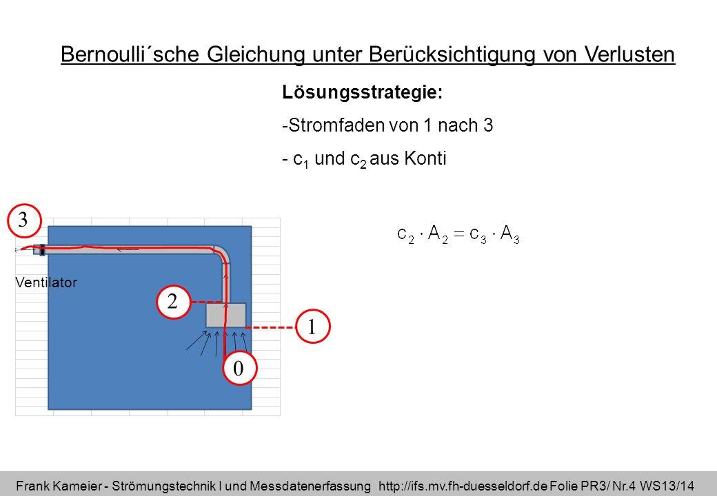 Frank Kameier - Strömungstechnik I und Messdatenerfassung http://ifs.mv.fh-duesseldorf.de Folie PR3/ Nr.4 WS13/14 Bernoulli´sche Gleichung unter Berüc