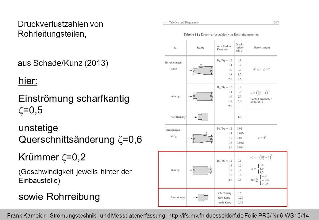 Frank Kameier - Strömungstechnik I und Messdatenerfassung http://ifs.mv.fh-duesseldorf.de Folie PR3/ Nr.6 WS13/14 Druckverlustzahlen von Rohrleitungst