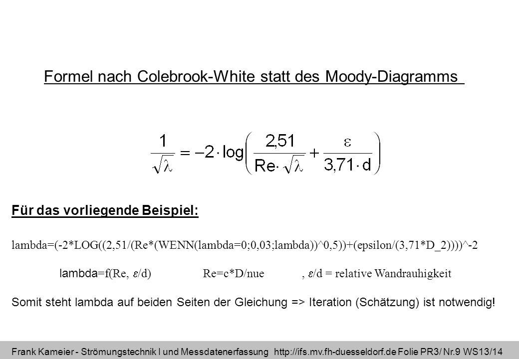 Frank Kameier - Strömungstechnik I und Messdatenerfassung http://ifs.mv.fh-duesseldorf.de Folie PR3/ Nr.9 WS13/14 Formel nach Colebrook-White statt de