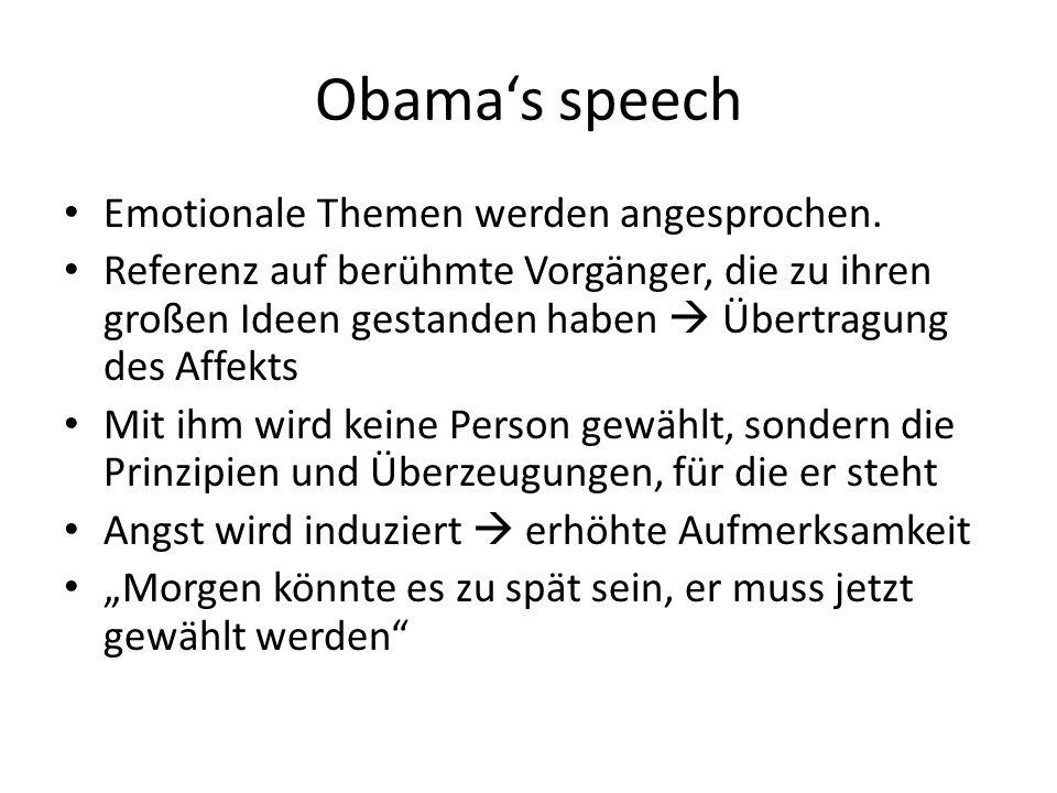 Obamas speech Emotionale Themen werden angesprochen.