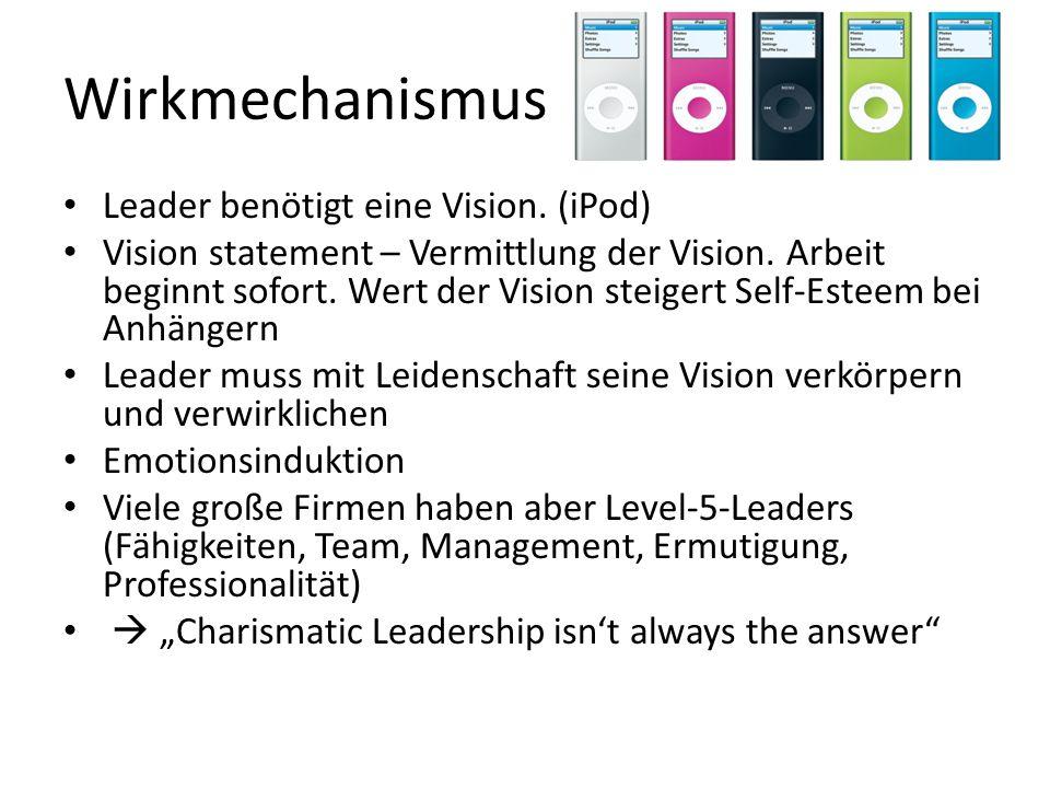 Wirkmechanismus Leader benötigt eine Vision.(iPod) Vision statement – Vermittlung der Vision.