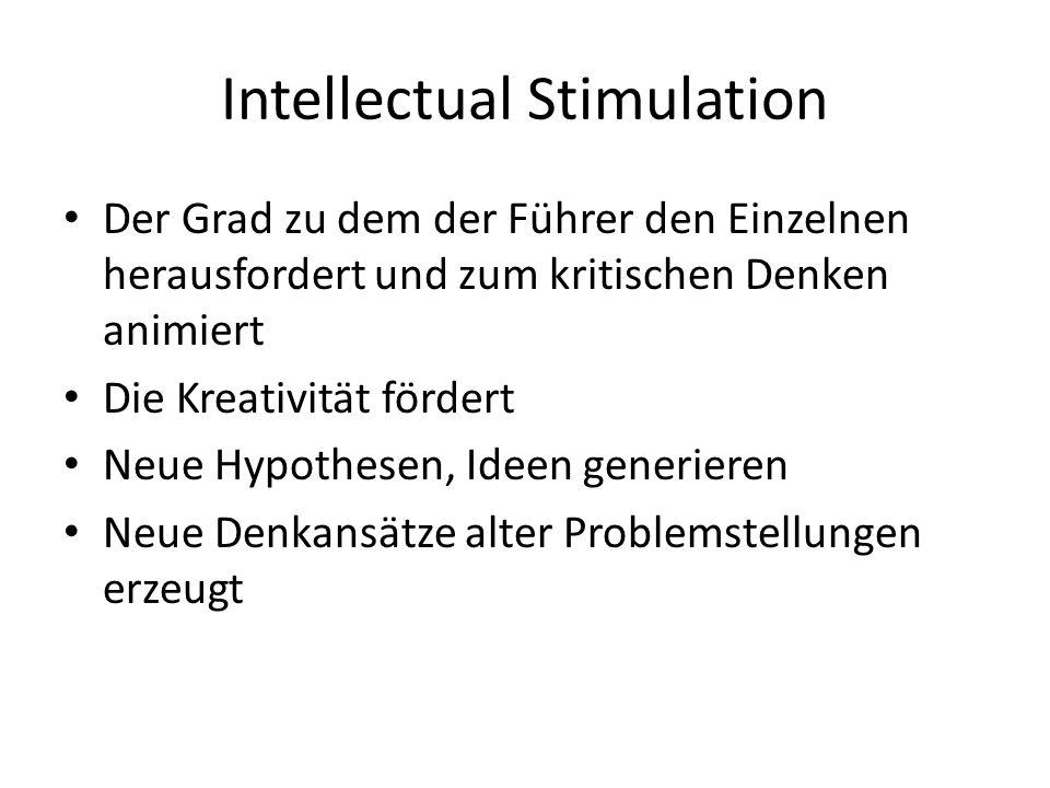 Intellectual Stimulation Der Grad zu dem der Führer den Einzelnen herausfordert und zum kritischen Denken animiert Die Kreativität fördert Neue Hypothesen, Ideen generieren Neue Denkansätze alter Problemstellungen erzeugt