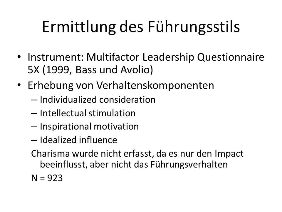 Ermittlung des Führungsstils Instrument: Multifactor Leadership Questionnaire 5X (1999, Bass und Avolio) Erhebung von Verhaltenskomponenten – Individualized consideration – Intellectual stimulation – Inspirational motivation – Idealized influence Charisma wurde nicht erfasst, da es nur den Impact beeinflusst, aber nicht das Führungsverhalten N = 923
