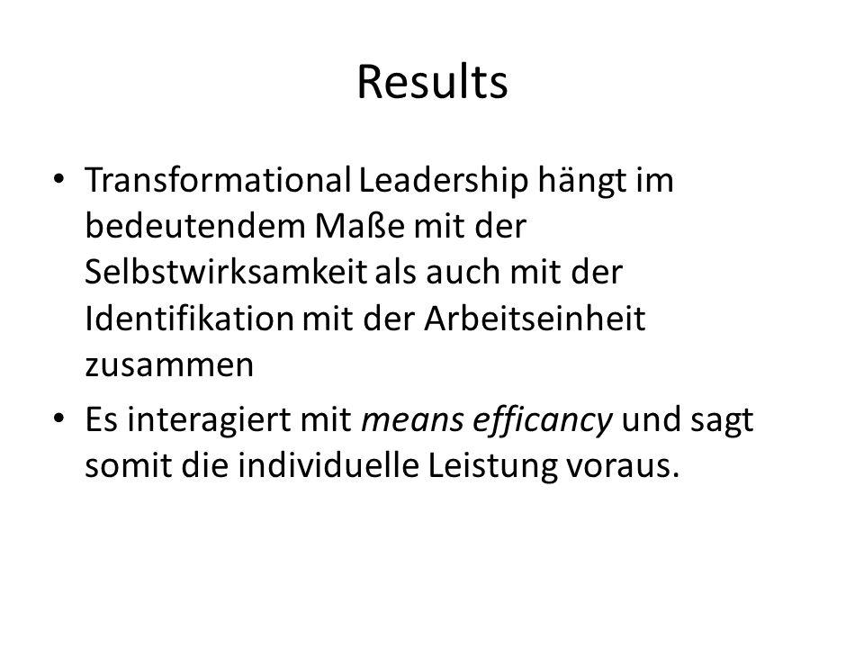 Results Transformational Leadership hängt im bedeutendem Maße mit der Selbstwirksamkeit als auch mit der Identifikation mit der Arbeitseinheit zusammen Es interagiert mit means efficancy und sagt somit die individuelle Leistung voraus.