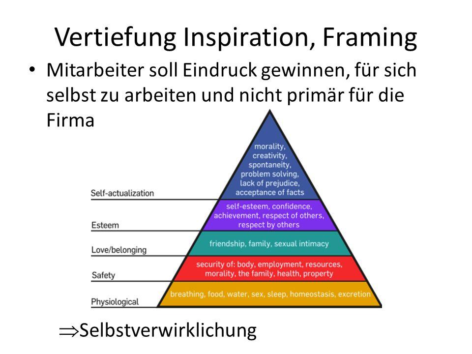Vertiefung Inspiration, Framing Mitarbeiter soll Eindruck gewinnen, für sich selbst zu arbeiten und nicht primär für die Firma Selbstverwirklichung
