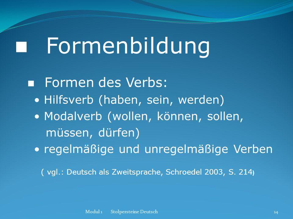 Formenbildung Formen des Verbs: Hilfsverb (haben, sein, werden) Modalverb (wollen, können, sollen, müssen, dürfen) regelmäßige und unregelmäßige Verbe