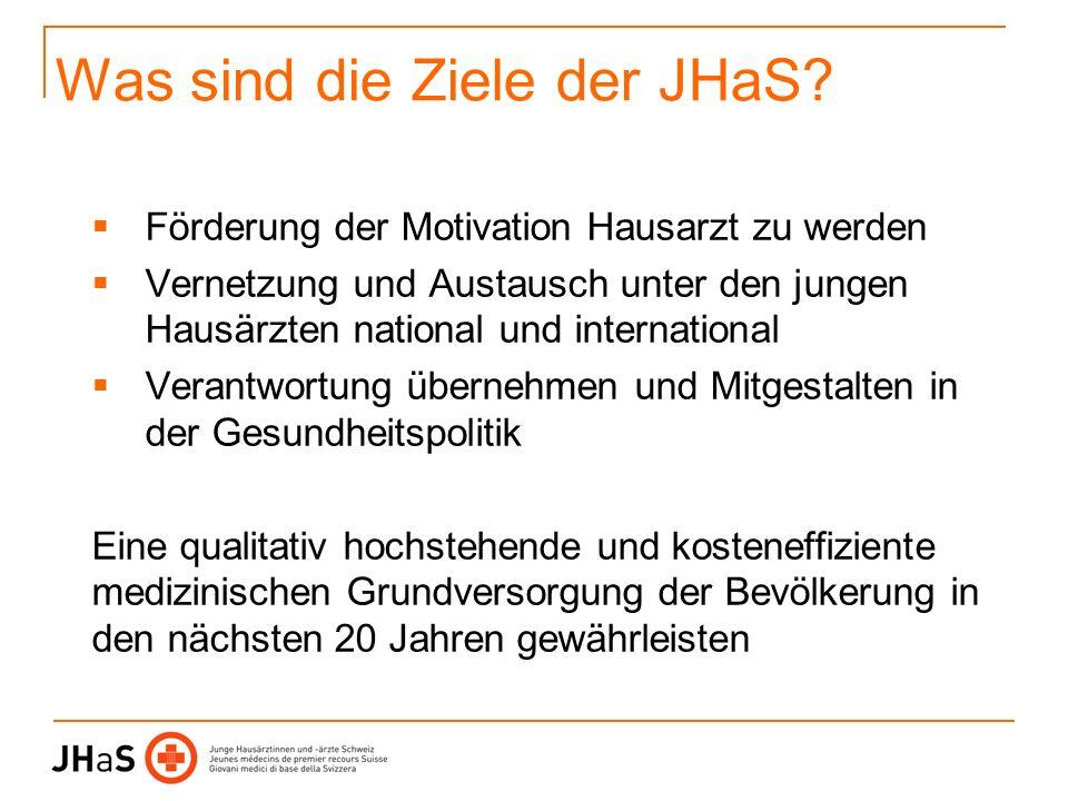 Was sind die Ziele der JHaS? Förderung der Motivation Hausarzt zu werden Vernetzung und Austausch unter den jungen Hausärzten national und internation