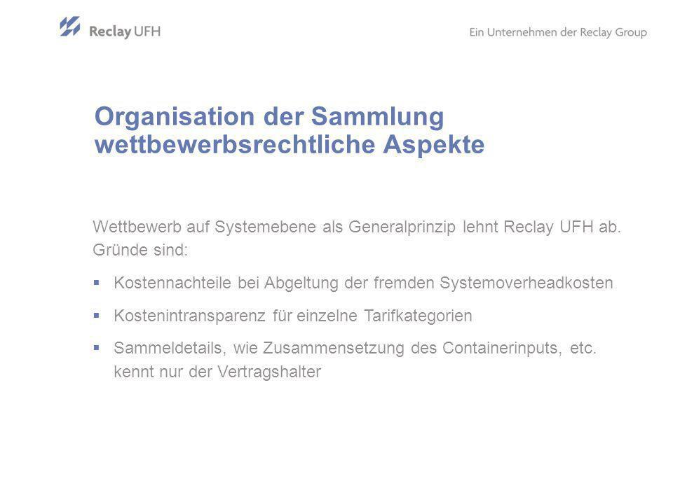 Organisation der Sammlung wettbewerbsrechtliche Aspekte Wettbewerb auf Systemebene als Generalprinzip lehnt Reclay UFH ab.