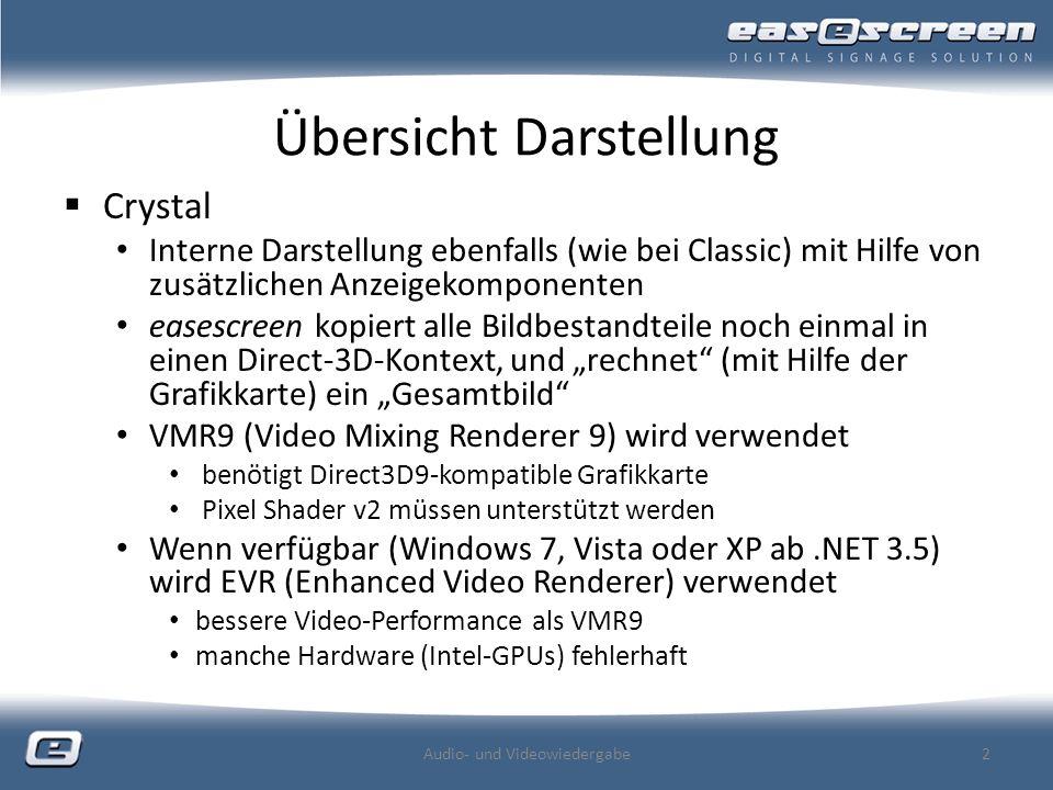 Übersicht Darstellung Crystal Interne Darstellung ebenfalls (wie bei Classic) mit Hilfe von zusätzlichen Anzeigekomponenten easescreen kopiert alle Bildbestandteile noch einmal in einen Direct-3D-Kontext, und rechnet (mit Hilfe der Grafikkarte) ein Gesamtbild VMR9 (Video Mixing Renderer 9) wird verwendet benötigt Direct3D9-kompatible Grafikkarte Pixel Shader v2 müssen unterstützt werden Wenn verfügbar (Windows 7, Vista oder XP ab.NET 3.5) wird EVR (Enhanced Video Renderer) verwendet bessere Video-Performance als VMR9 manche Hardware (Intel-GPUs) fehlerhaft Audio- und Videowiedergabe2