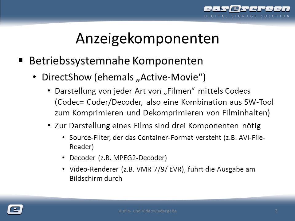 Anzeigekomponenten Betriebssystemnahe Komponenten DirectShow (ehemals Active-Movie) Darstellung von jeder Art von Filmen mittels Codecs (Codec= Coder/Decoder, also eine Kombination aus SW-Tool zum Komprimieren und Dekomprimieren von Filminhalten) Zur Darstellung eines Films sind drei Komponenten nötig Source-Filter, der das Container-Format versteht (z.B.