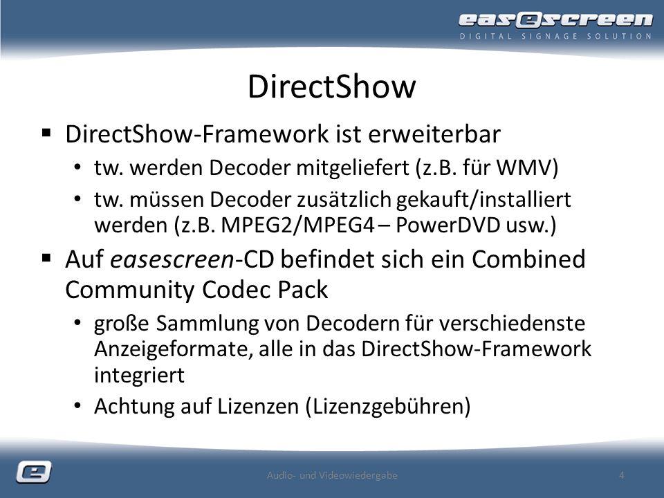 DirectShow DirectShow-Framework ist erweiterbar tw.