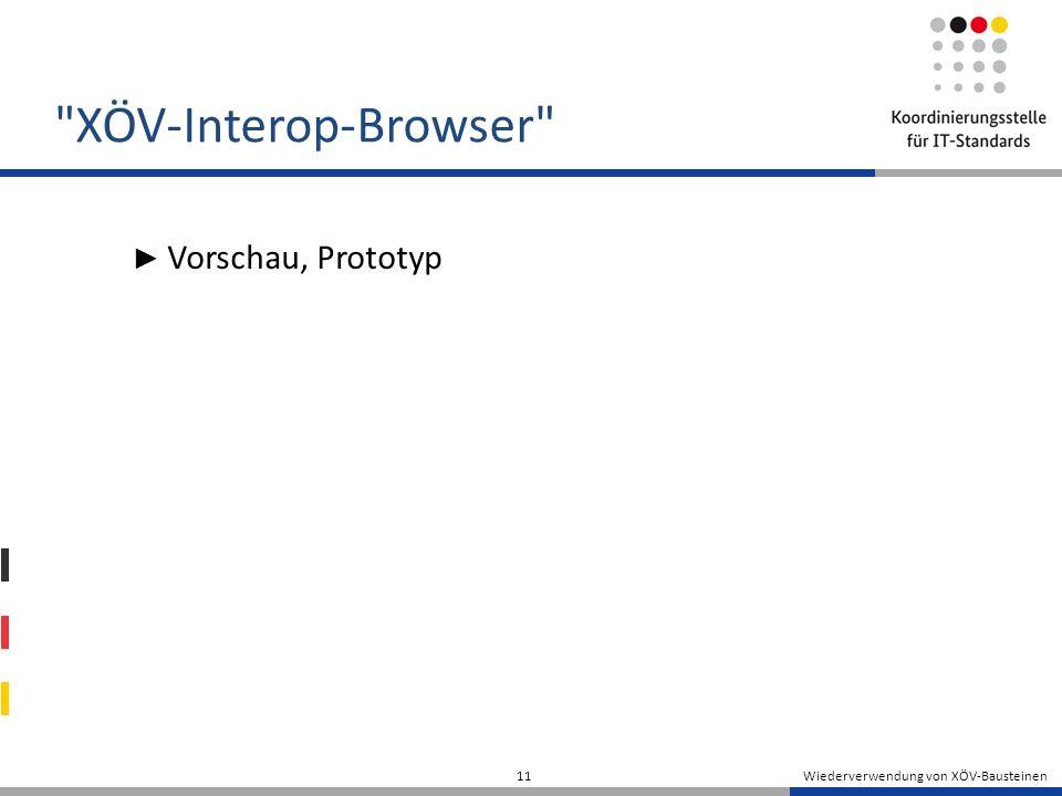 XÖV-Interop-Browser Vorschau, Prototyp Wiederverwendung von XÖV-Bausteinen 11