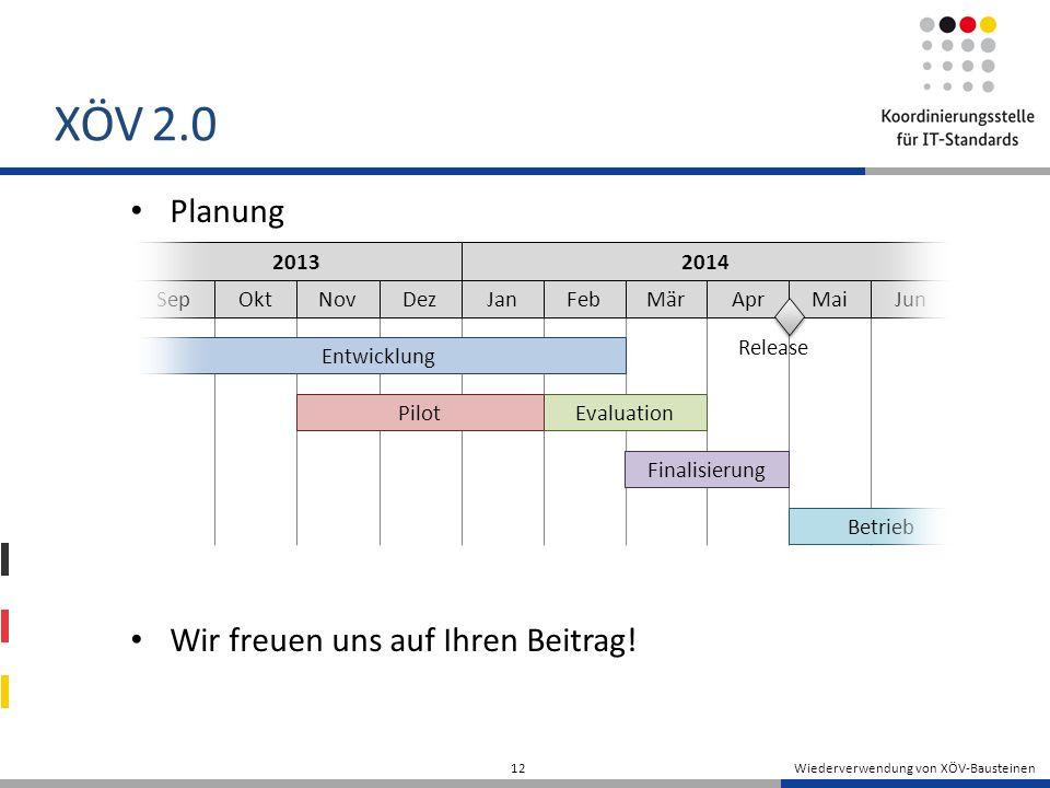 XÖV 2.0 Planung Wir freuen uns auf Ihren Beitrag.
