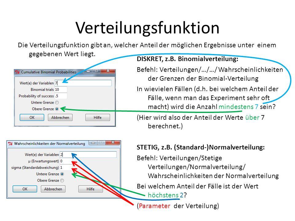 Verteilungsfunktion Die Verteilungsfunktion gibt an, welcher Anteil der möglichen Ergebnisse unter einem gegebenen Wert liegt. DISKRET, z.B. Binomialv
