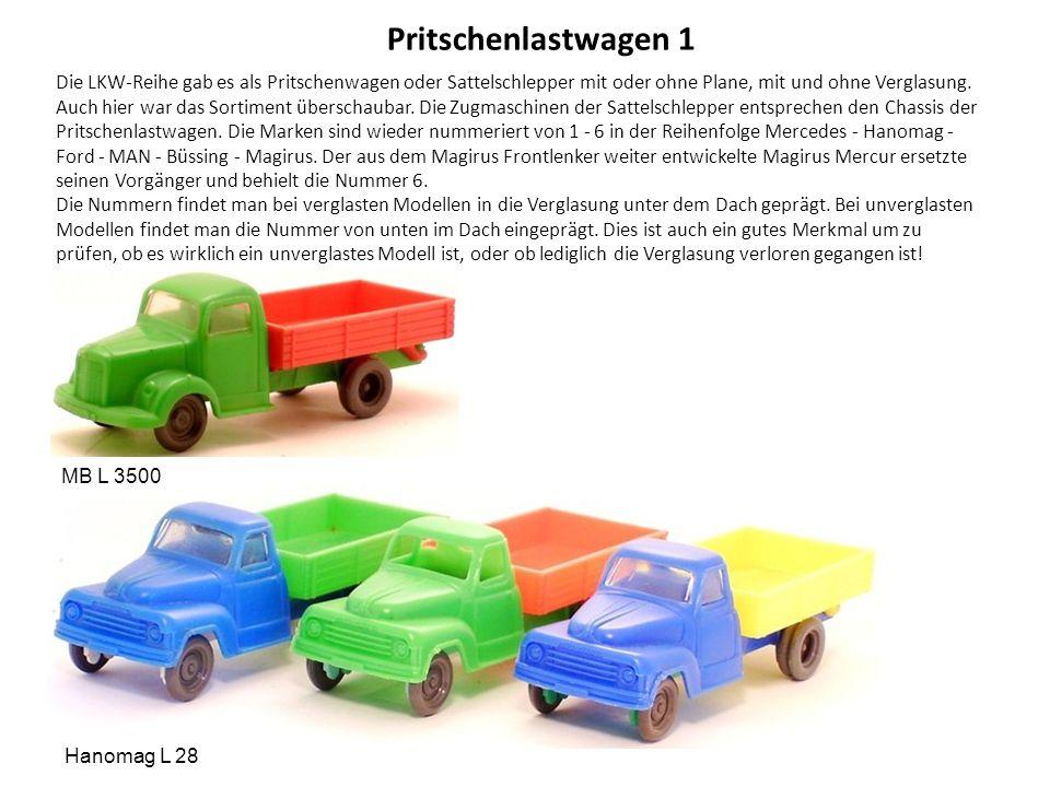 Pritschenlastwagen 1 Die LKW-Reihe gab es als Pritschenwagen oder Sattelschlepper mit oder ohne Plane, mit und ohne Verglasung.