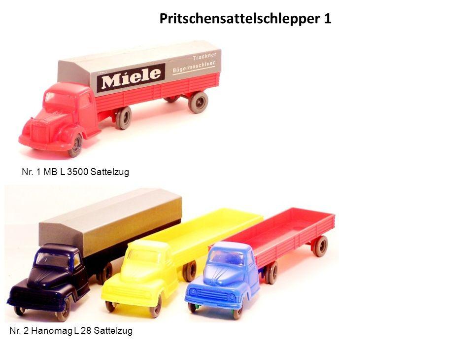Pritschensattelschlepper 1 Nr. 1 MB L 3500 Sattelzug Nr. 2 Hanomag L 28 Sattelzug