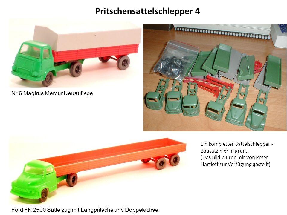 Pritschensattelschlepper 4 Nr 6 Magirus Mercur Neuauflage Ford FK 2500 Sattelzug mit Langpritsche und Doppelachse Ein kompletter Sattelschlepper - Bausatz hier in grün.